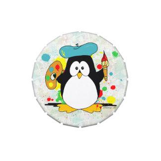 Pingüino artístico frascos de caramelos