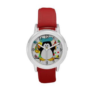 Pingüino artístico relojes de mano