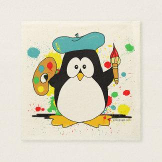 Pingüino artístico servilletas desechables