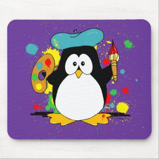 Pingüino artístico alfombrillas de ratones