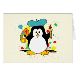 Pingüino artístico tarjeta