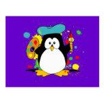 Pingüino artístico tarjeta postal