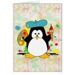 Pingüino artístico tarjetón