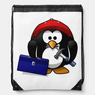 Pingüino astuto del dibujo animado mochila