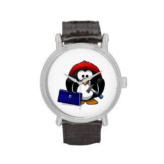 Pingüino astuto del dibujo animado reloj