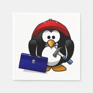 Pingüino astuto del dibujo animado servilletas desechables