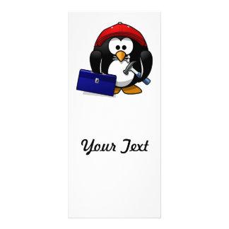 Pingüino astuto del dibujo animado tarjetas publicitarias a todo color