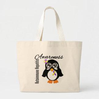 Pingüino autoinmune de la conciencia de la bolsa tela grande