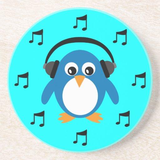 Pingüino azul de DJ, auriculares y notas musicales Posavasos Manualidades