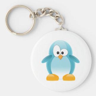 Pingüino azul llavero redondo tipo pin