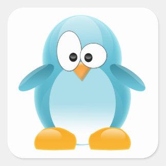 Pingüino azul calcomanía cuadrada
