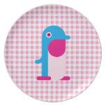 Pingüino azul plato de comida