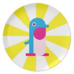 Pingüino azul platos de comidas