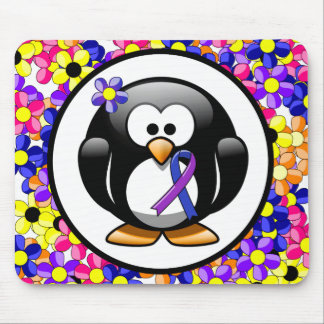 Pingüino azul y púrpura de la cinta tapetes de raton