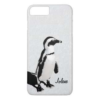 Pingüino blanco negro artsy moderno funda iPhone 7 plus