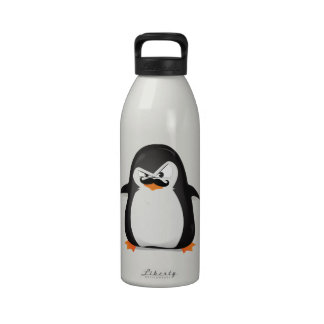 Pingüino blanco negro lindo y bigote divertido botella de beber