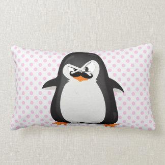 Pingüino blanco negro lindo y bigote divertido cojin