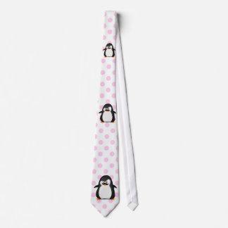 Pingüino blanco negro lindo y bigote divertido corbatas personalizadas