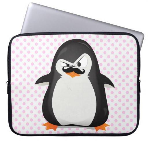 Pingüino blanco negro lindo y bigote divertido mangas computadora