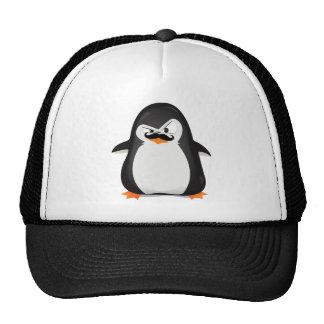 Pingüino blanco negro lindo y bigote divertido gorros