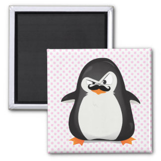 Pingüino blanco negro lindo y bigote divertido imán de frigorifico