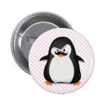 Pingüino blanco negro lindo y bigote divertido pin redondo de 2 pulgadas