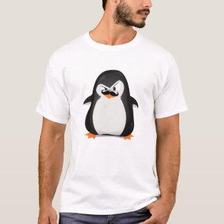 Pingüino blanco negro lindo y bigote divertido playera