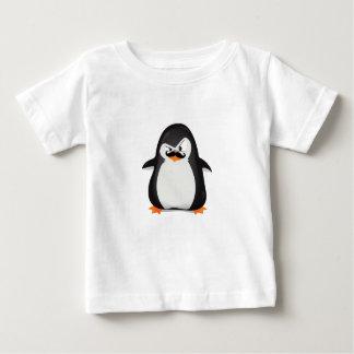 Pingüino blanco negro lindo y bigote divertido playera de bebé