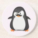Pingüino blanco negro lindo y bigote divertido posavaso para bebida