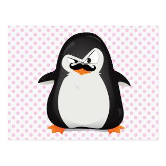 Pingüino blanco negro lindo y bigote divertido tarjeta postal