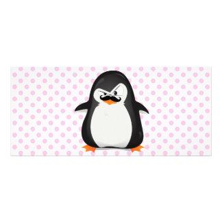 Pingüino blanco negro lindo y bigote divertido lonas personalizadas