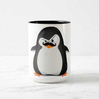 Pingüino blanco negro lindo y bigote divertido taza de café