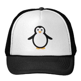 Pingüino blanco y negro del dibujo animado gorra