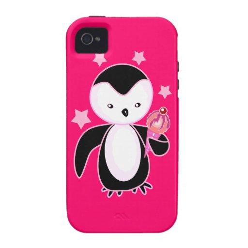 Pingüino bonito con rosas fuertes del cono de hela vibe iPhone 4 carcasa