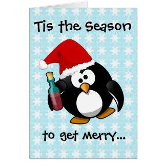 Pingüino borracho tarjeta de felicitación