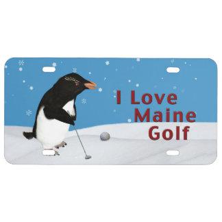 Pingüino chistoso que ama el golf de Maine Placa De Matrícula