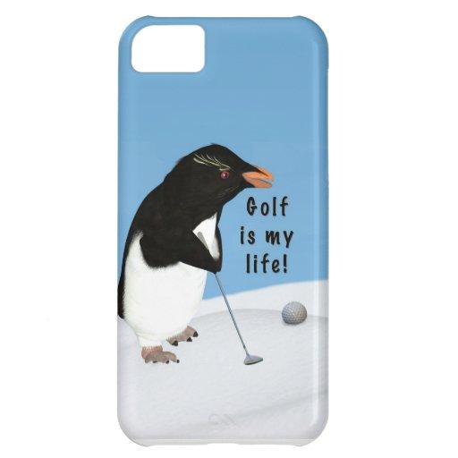 Pingüino chistoso que juega a golf funda para iPhone 5C
