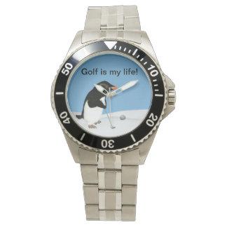 Pingüino chistoso que juega personalizable del relojes de mano