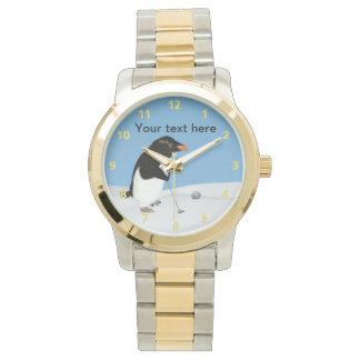 Pingüino chistoso que juega personalizable del relojes de pulsera