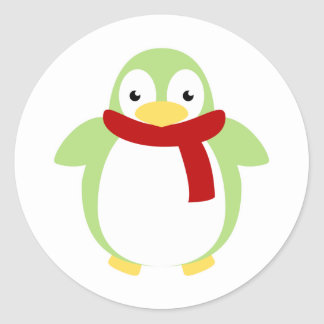 Pingüino colorido lindo en bufanda pegatina redonda