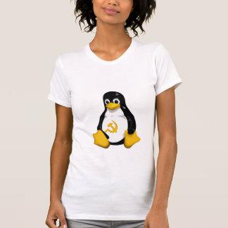Pingüino comunista (Linux) en las mujeres blancas Playeras
