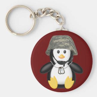 Pingüino con casco llavero redondo tipo pin