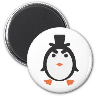 Pingüino con cilindro imán redondo 5 cm