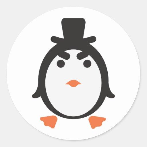 Pingüino con cilindro pegatina redonda