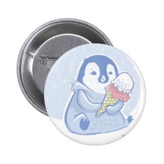 Pingüino con el botón del helado pin redondo de 2 pulgadas