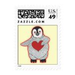 Pingüino con el corazón sellos