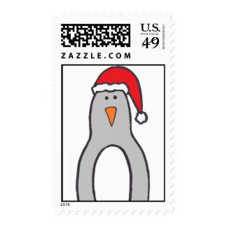 """""""Pingüino con el franqueo del gorra de Santa"""""""