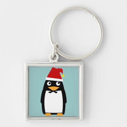 Pingüino con el gorra de Santa Llavero Cuadrado Plateado