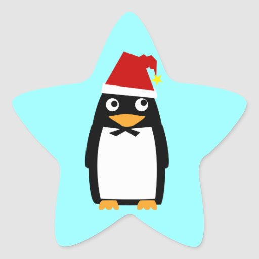 Pingüino con el gorra de Santa Pegatina En Forma De Estrella