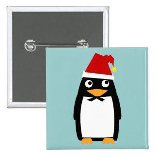 Pingüino con el Pin del botón del gorra de Santa